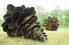 Giant Pine Cone Sculptures - Canadian Artist Floyd Elzinga Explores the Agressive Nature of Seeds