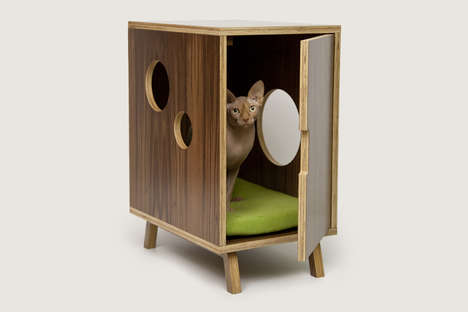 Cat Commode Consoles - The Circa50 Collection Conceals a Litter Box or a Pet Bed Behind Cabinets