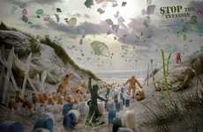 Plastic Waste Invasion Ads - The Surfrider Foundation Showcases the Effects of Pollution