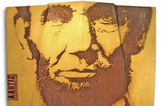 Presidential Portrait Rust Art - Abraham Lincoln's Visage is Rusted onto a '75 Lincoln Hood