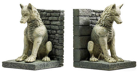 The Game of Thrones Direwolves Bookends Hold Hefty Books