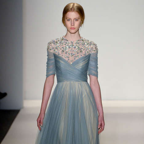 Ethereal Sequinned Fashion - The Jenny Packham Fall Collection is Fit for a Princess