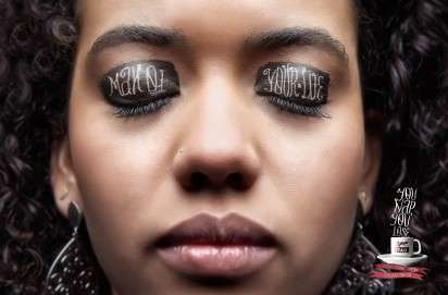Typographical Eyelid Ads - The Cafe Itau Campaign Shows What People Lose When They Nap