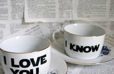 Sarcastically Romantic Tea Cups - This Tea Cup Set Features Adorably Heartfelt Relationship Banter