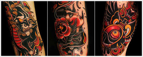 Dripping Cartoon Tattoos - Sa Jin Embodies Oriental Culture in an Enticing Manner