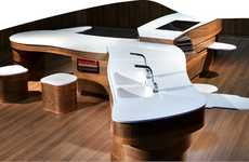 Swiss-Army Kitchens - The Shaping Silestone Kitchen Produces Extra Countertops That Swivel Out