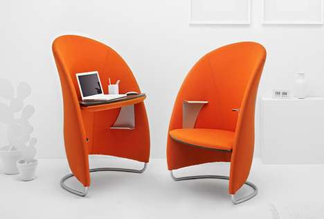 Adaptable Desk Armchairs - Multifunctional Hully Can Be Mirrored and Flipped for Work Private Nook