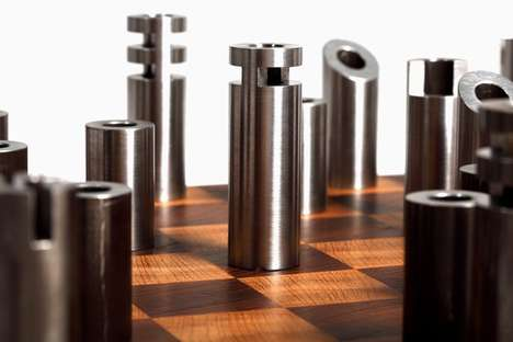 Post-Modern Cylindrical Chess Sets