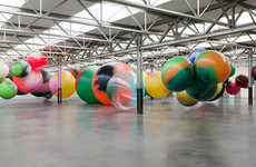 Giant Ball Installations - 'Two Younger Women Come In And Pull Out A Table' is Colorfully Quirky