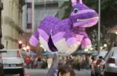 Giant Purple Pinata Ads - Cadbury Operatives Sneak into a City Center with a Massive Purple Bunny
