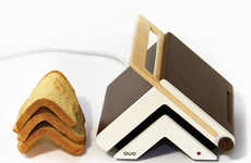 Increasingly Convenient Bread Browners - Toaster & Knife Folds Your Slice for Easy Sandwich Making