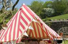 Glamorous Striped Tents - The Strawberries and Cream Bell Tent is Very Chic