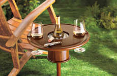 Wine Cooling Outdoor Tables - The Staked Mahogany Lawn Table Lets You Chill Alcoholic Beverages