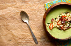 Cold Creamy Potages - The Avocado Soup with Sweet Corn and Bacon is Served Chilled