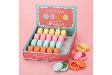Colorful Cake-Shaped Lip Balms - The Chic Patisserie Scented Macaron Lip Gloss Set Resembles Treats