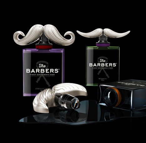 Mustache-Topped Bottles - The Barbers Packaging Features Impeccably Sculpted Facial Hair