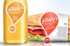 Exclamatory Sandwich Branding - Freddy's Packaging Gets Consumers Excited About Local Foods