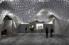 Undulating Ceiling Installations - Paper Chandeliers by Cristina Parreno Architecture is Spectacular