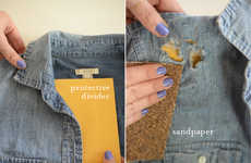 DIY Jean Shirt Embellishments - The Distressed Chambray Tutorial Updates Basic Blouses