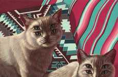 Subtly Eerie Cat Illustrations - Casey Weldon's Double Eyed Cats Drawings Reference Digital Editing