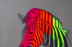 Florescent Zoological Sketches (UPDATE) - This Louise McNaught Art Features Neon Zebras