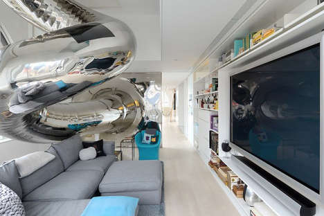 Mirrored Indoor Slide Abodes - The 'Skyhouse' By David Hotson x Ghislaine Vinas is Incredible