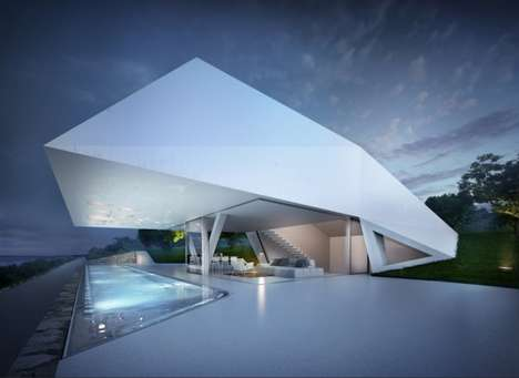 Bulging Geometric Abodes - The Villa F by Hornung & Jacobi Architecture is Inspired by Eroded Rocks