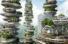 Multi-Story Urban Farms - Vincent Callebaut's Farmscrapers are Designed Specifically for Shenzhen