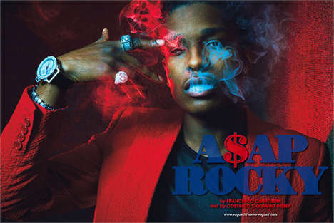 Regal Rapper Editorials - The L'Uomo Vogue Issue Features A$ap Rocky
