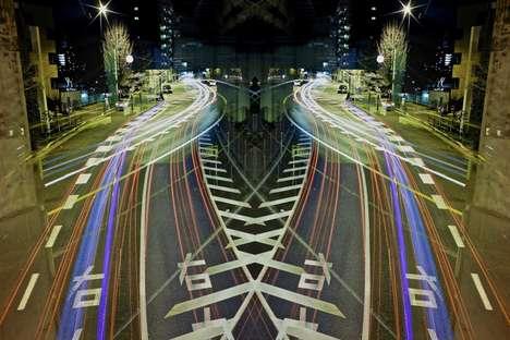 Symmetrical Neon Cityscapes