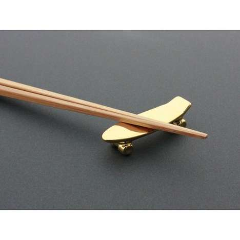 Skater Chopstick Rests - The Talky Pika Pika Skateboard Chopstick Rest is Quirky