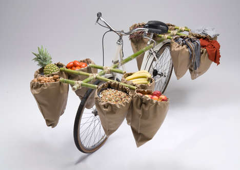 Bamboo Bicycle Storage - The 'Bamgoo' Bicycle Attachment by Sara Urasin can Carry Groceries