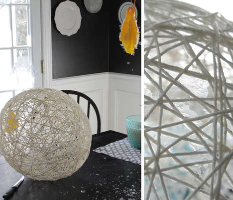 Yarn-Made Lighting Solutions - This DIY Project Utilizes Ordinary Pieces of Yarn to Create Fixtures