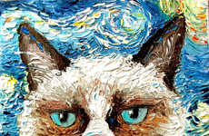 Celebrity Feline Paintings  - Aja Immortalizes the Memes of Grumpy Cat and Lil Bub in Paintings