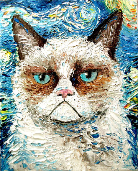 Aja Immortalizes the Memes of Grumpy Cat and Lil Bub in Paintings