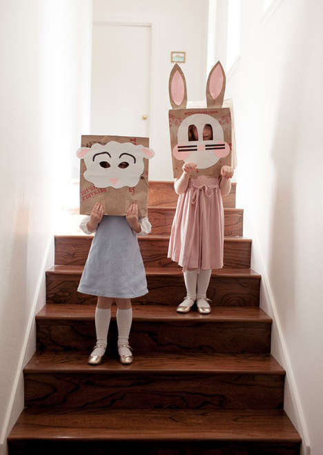 These DIY Easter Brown Sack Masks are a Fun Children's Project