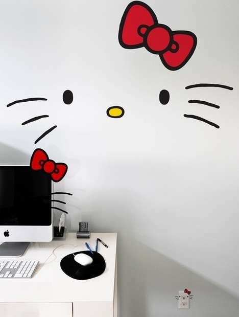 Famous Feline Furnishing Stickers - Hello Kitty Wall Decals Bring Girly Cuteness to a Room
