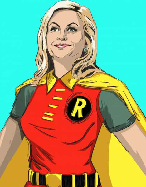 Comedic Superhero Caricatures - Parks and Recreation Portray Superheroes in This Vicky Trochez Work
