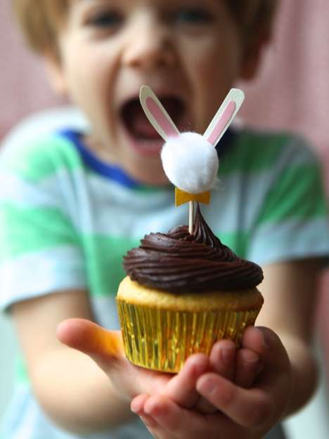 Miniature Bunny Pastry Toppers - These Easter-Themed Cupcake Toppers are from the Oh Happy Day Blog