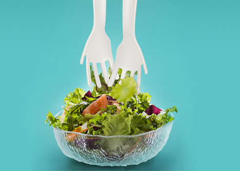 Hand-Shaped Salad Forks