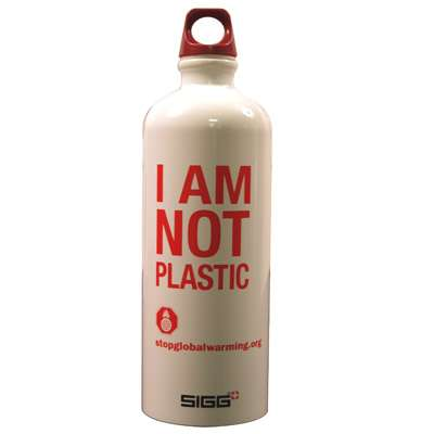 "Plastic Bottle Alternatives - ""I Am Not Plastic"" Aluminum Bottle"