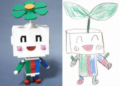 Child Drawings Turned Real Toys - Stuffed Lego Robot