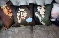 Painterly Portrait Cushions - The Chad Wys Decorative PIllow Collection is Artistically Inclined