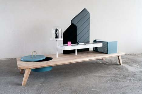 Bench-Like Display Cabinets