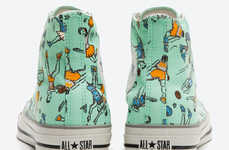 Printed Cartoon Sneakers - These Retro Converse Kicks Pay Homage to a Great Canadian Game