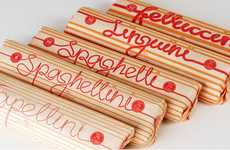 Noodle-Doodled Branding - Claire McCulloch's Pasta Packaging Employs the Product for its Typography