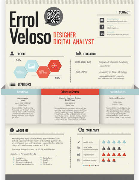 QR-Coded Creative Resumes - Graphic Design Student Errol Veloso Created This Slick Resume