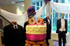 Donut-Made Wedding Cakes - A Bridal Show in Nassau Displays a Dunkin' Donuts Wedding Cake