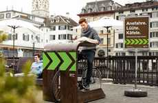 Bicycle-Friendly Café Seating - Rathaus Café's Patio Seating Does Not Require Chairs