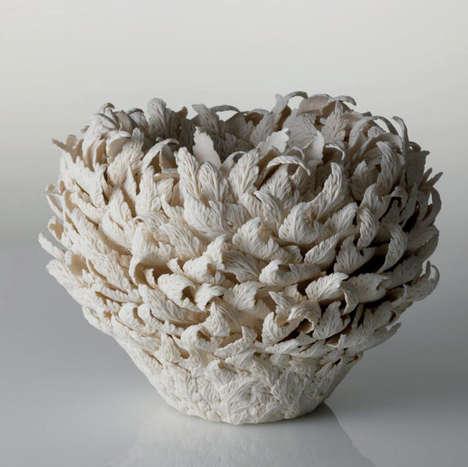 Feathered Foliage Vases